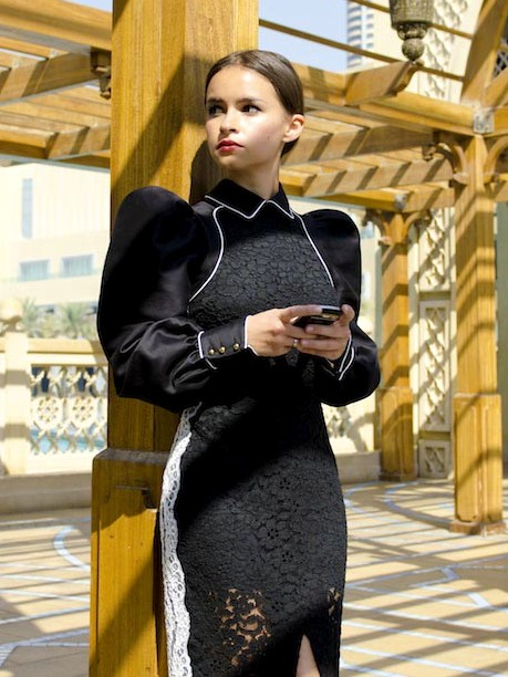 miroslava duma black dress