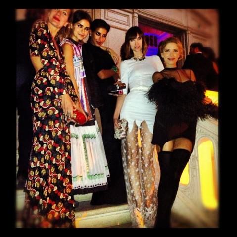 Anya Ziourova on Carine Roitfeld ball with Mira Duma & Elena Perminova