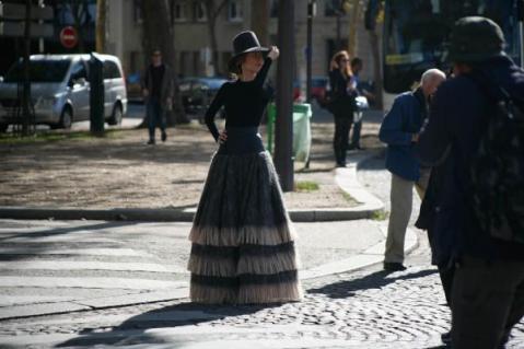 Ulyana Sergienko at Dior on Paris streets